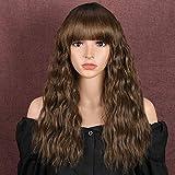 Parrucche sintetiche ondulate da 45,7 cm, con spalle piatte e lunghezza delle spalle ombre, castane e radici scure, per donne in fibra resistente al calore