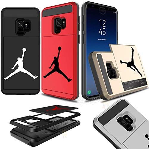 Samsung Galaxy S9 Dual-Layered Credit Card ID Storage Basketball Case Michael Jordan Money Cash Slide Wallet Jumpman Air Lebron Gold Ten Plus Protective Cover (Black & White)