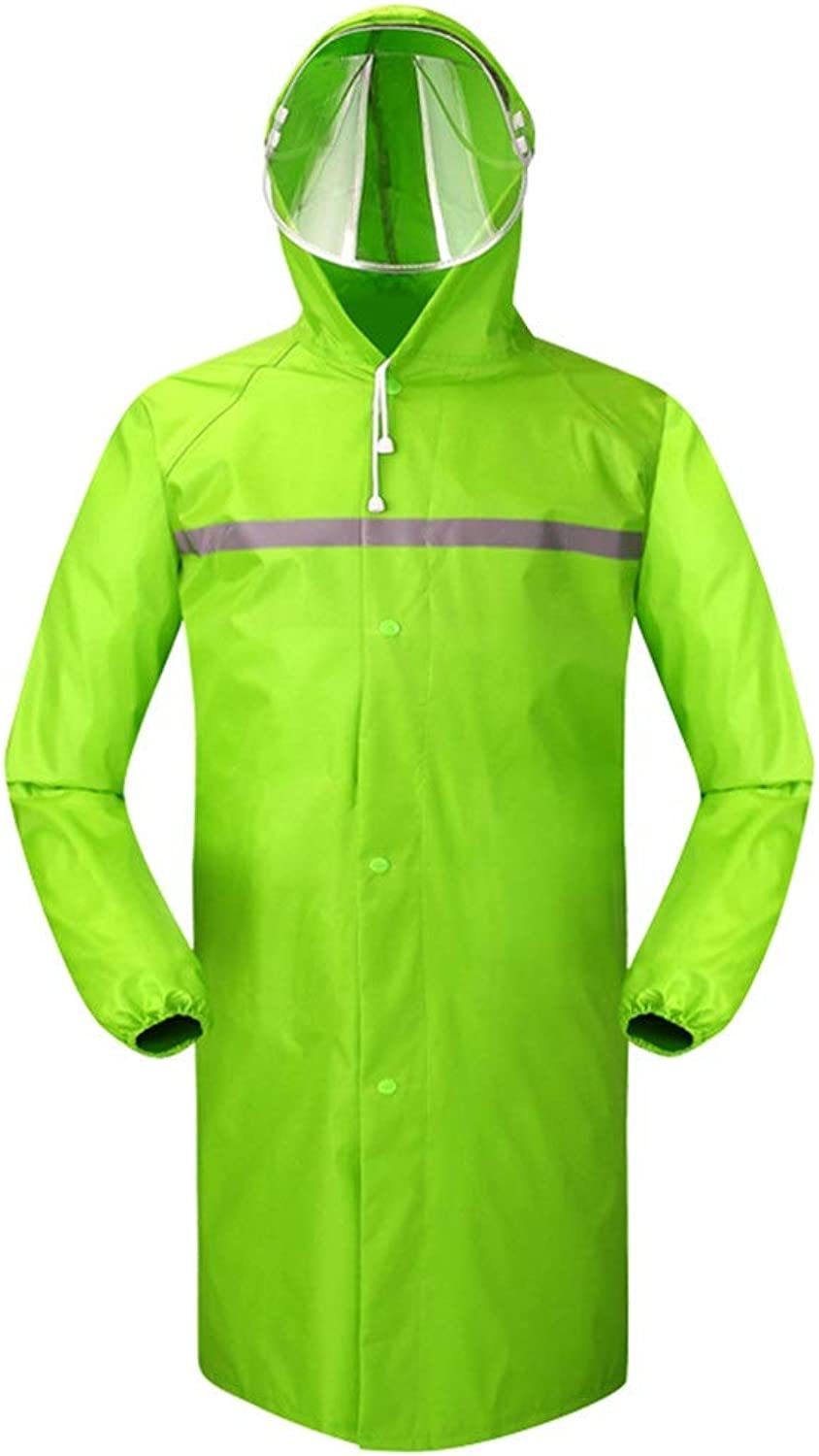 LJGG Raincoat Long Section Raincoat Waterproof Male Female Adult Hiking Breathable Poncho (color   Green, Size   L)