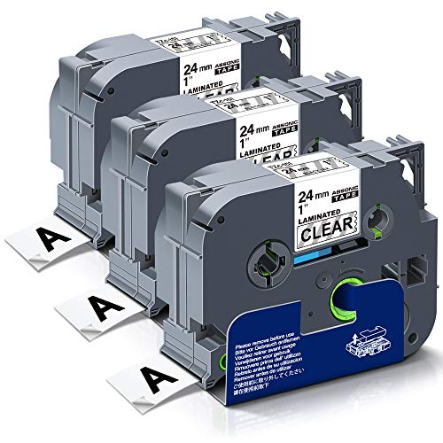 """Absonic Compatible Label Tape Replace for Brother Tze-151 Tz-151 Tze151 Tze 24mm 0.94"""" Laminated Tape for PT-D600 PT-P700 PT-P710BT PT-P950NW PT-2430PC Label Maker, 1"""" x 26.2' Black on Clear, 3-Pack"""