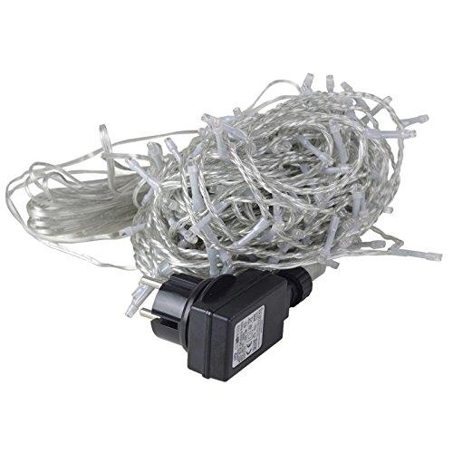 200er LED Lichterkette warmweiß warmweiß transparentes Kabel innen und außen