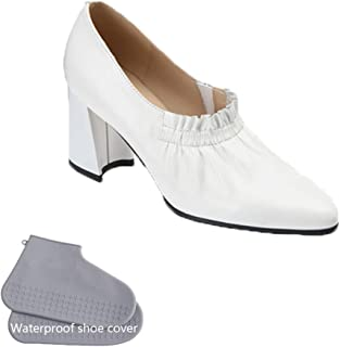 New Thick Heel Soft Leather High Heel Shoes, European and American Fashion Temperament Breathable Trend Comfortable Ladies Single Shoes,White,38
