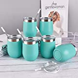 6 Pack 12Oz Stemless Wine Tumbler Wine Glasses Set Stainless Steel Cups with Lid Set of 6 for Picnic Camping Party or Family Daily Use Shatterproof - BPA Free Healthy Choice (Aqua blue, 12Oz)