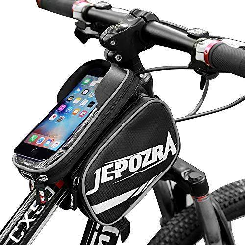 JEPOZRA Bolsas de Bicicleta, 3 en 1 Bolsa de Manillar Bolsa Impermeable para Bicicleta, Bolsa Táctil de Tubo Superior Delantero con para Teléfono Inteligente por Debajo de 6,8 Pulgadas