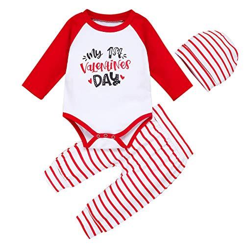 Geagodelia Conjunto de ropa de bebé para San Valentín My 1st Valentine 's Day de 3 piezas de pelele de manga larga + pantalón + gorro + pelele de algodón rojo 12-18 meses