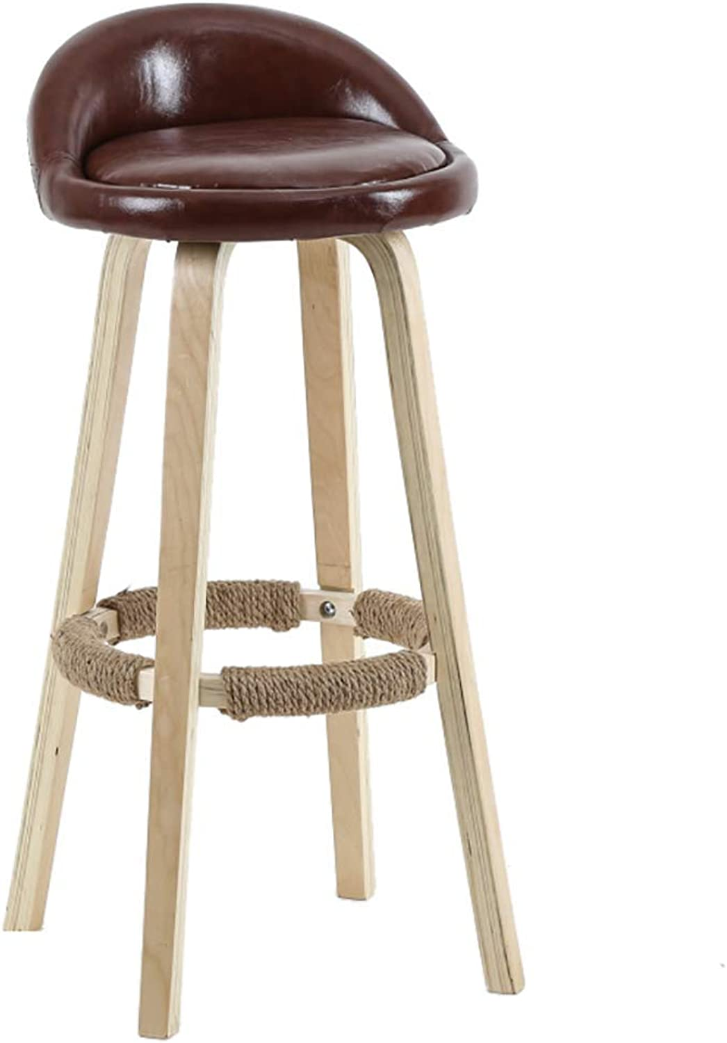 Solid Wood Bar Stool, Simple Backrest High Stool, High Rebound Sponge Filling + Fabric Leather Cushion, for Kitchen   Breakfast   Counter   Conservatory   Café   Pub