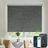 Yoolax Motorized Blinds Blackout Fabric Automatic Shades Remote Control Cordless Room Darkening Window Blinds (Dark Grey)