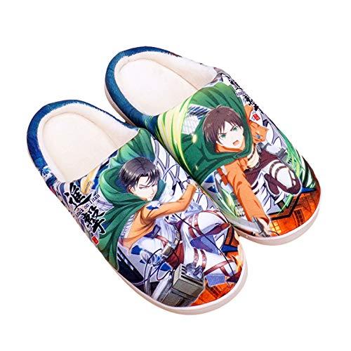 YZJYB Attack On Titan Japanese Anime Pantuflas Lindos Felpa Cálidos Zapatillas de Interior Suave Antideslizante Zapatos de Casa Coral Fleece Slippers,UK 3~4.5/EU 35.5~37.5(260)