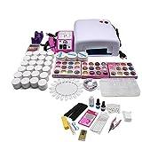 Set de manicura profesional con 24 esmaltes de gel UV, 36 W, lámpara LED y gel de sellado