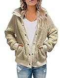 MEROKEETY Womens Winter Long Sleeve Button Sherpa Jacket Coat Pockets Warm Fleece Beige
