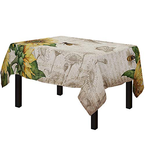 Yun Nist Tablecloths for Rectangle Table Farm Rustic Sunflower and Butterfly Bee, Cotton Linen Fabric Table Cover Tabletop Cloth for Dining Room Kitchen, Old Newspaper
