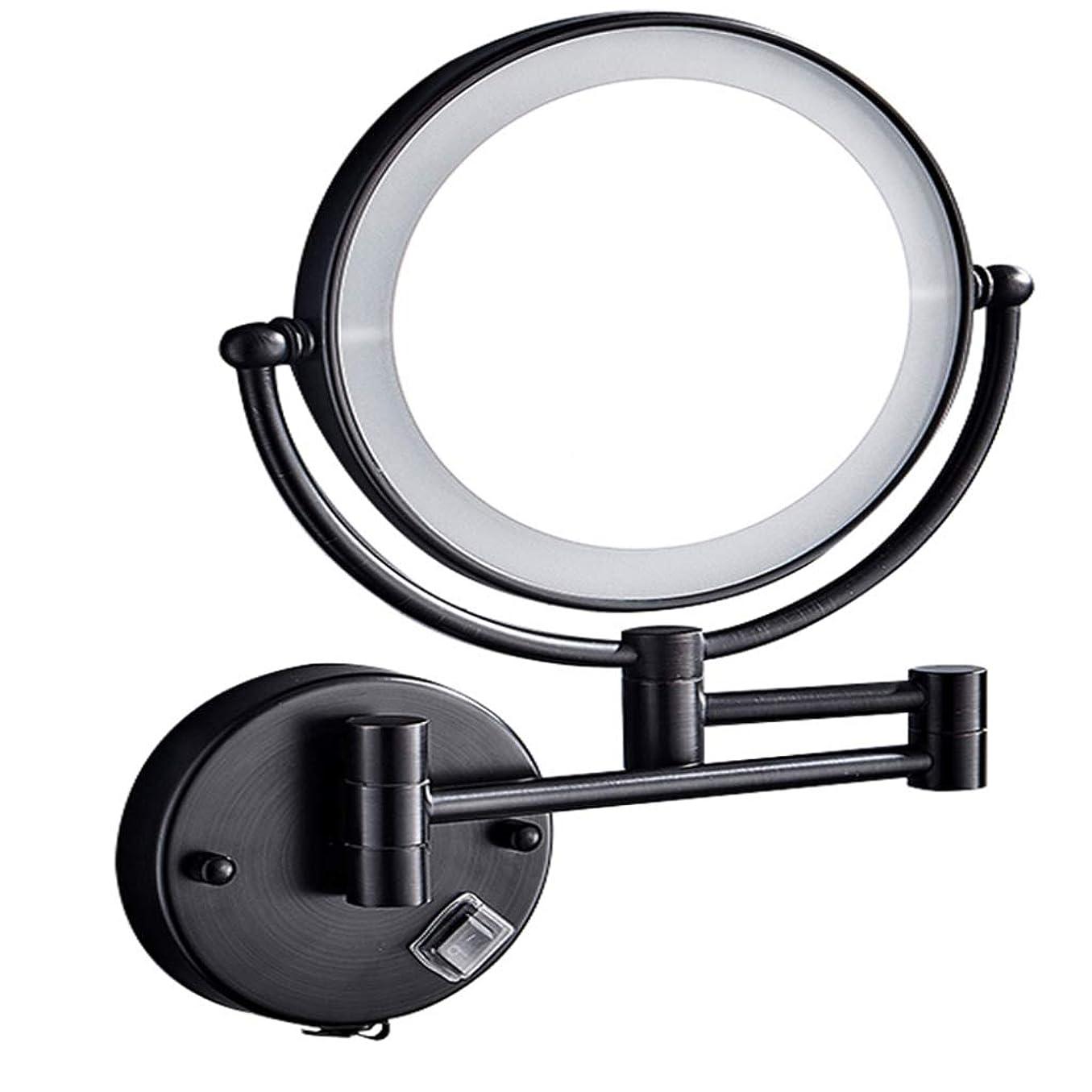 石鹸レプリカ端末HUYYA シェービングミラー バスルームメイクアップミラー LEDライト付き、バニティミラー 壁付 3 倍拡大鏡 化粧鏡 両面 寝室や浴室に適しています有線接続,Black_8inch