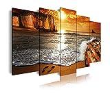 DekoArte 268 - Cuadros Modernos Impresión de Imagen Artística Digitalizada   Lienzo Decorativo para Tu Salón o Dormitorio   Estilo Paisaje Puesta de Sol en Playa   5 Piezas 200 x 100 cm XXL