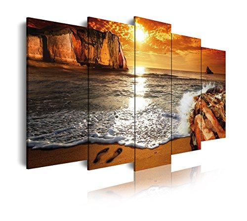 DekoArte 268 - Cuadros Modernos Impresión de Imagen Artística Digitalizada | Lienzo Decorativo para Tu Salón o Dormitorio | Estilo Paisaje Puesta de Sol en Playa | 5 Piezas 200 x 100 cm XXL