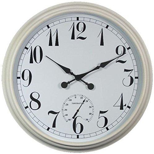 About Time XXL Gartenuhr Draussen mit Thermometer, Weiß Uhr - 90cm