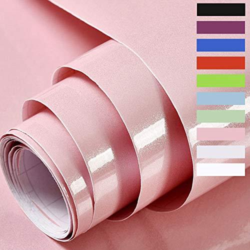 Hode Carta Adesiva per Mobili Carta da Parati Pellicola Decalcomanie Vinilica Adesivi Pareti Porte Cucina Finestre Posteriori Rotolo di Plastica 60X500cm (Rosa)