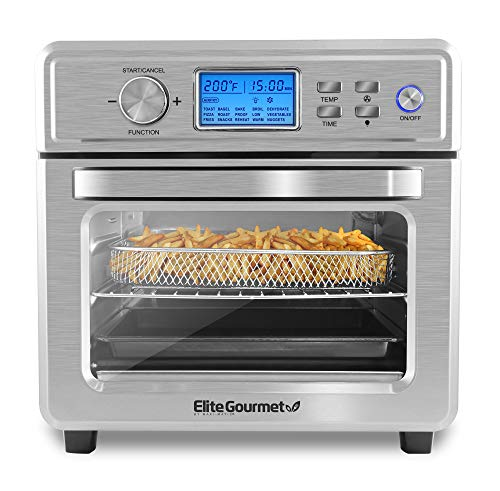 Elite Gourmet EAF8190D Maxi-Matic Digital Programmable Fryer Oven, Oil-Less Convection Oven Extra Large 21L. Capacity, Grill, Bake, Roast, Air Fry, 1700-Watts, Stainless Steel