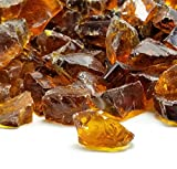 VIVID Heat (5-POUNDS Amber Ember Premium Indoor & Outdoor Crushed Fire Glass Rock Large 1/2, 3/4 & 1' inch Chunky Size - Glass for Use in Gas Fire Pit, Fireplace, Fire Table Etc. (Amber)