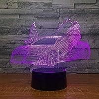 3DビジュアルビークルウェポンモデルLEDUSBテーブルランプナイトライト7色マイクロUSB / 3バッテリー式子供用バースデーギフト-車2