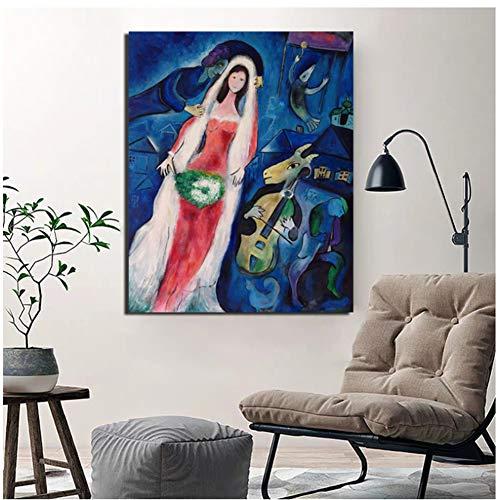 nr Marc Chagall Poster Vintage Leinwand PosterWandkunstGemälde Dekorative Bilder ModerneWohnkultur -60x80cm Kein Rahmen