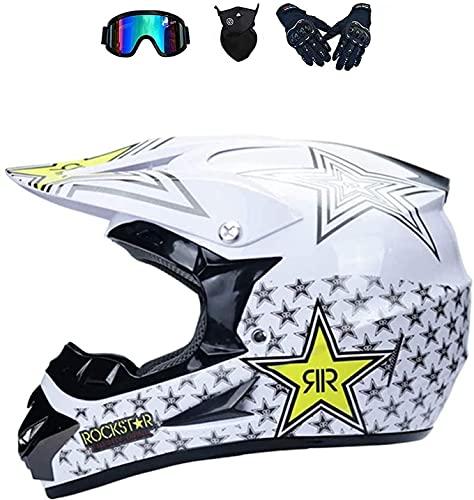 LVLUOKJ Cascos de Motocross, Cascos de Moto de Cross de Cara Completa, Casco Dot Unisex con Visera, Guantes, máscara, Casco Cruzado de Motocicleta para jóvenes, niños, MTB, ATV (Color : C, Size : S)