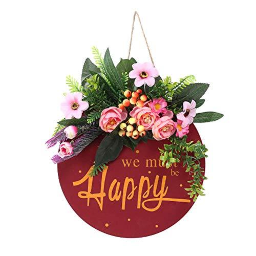 S-TROUBLE Guirnalda de Puerta de Entrada Letrero Colgante de Madera con Flor de eucalipto Colgador de Madera Decoraciones al Aire Libre para el hogar Casa de Campo Porche Restaurante