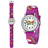 CXJC Reloj de dibujos animados de patrón tridimensional de champiñones para niños y niñas de 4 a 13 años, tiempo de alumnos de la escuela primaria y secundaria, manteniendo el reloj, el reloj deportiv