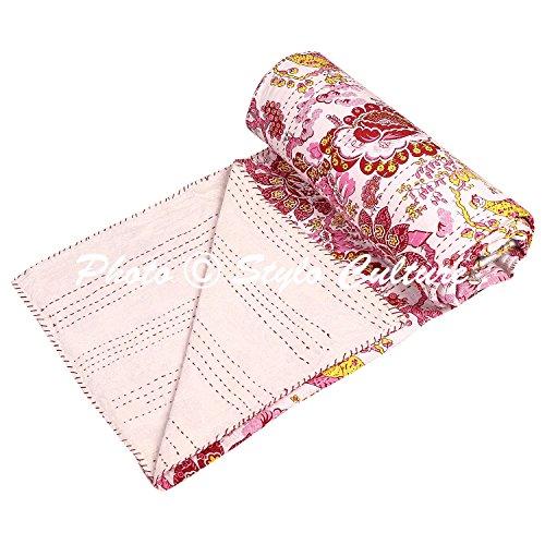 Stylo Culture Decoratif Couvre-lit Lits Jumeaux Kantha Couvre-lit Indien Maroon Coton Oiseau Cousu À La Main Couverture Literie