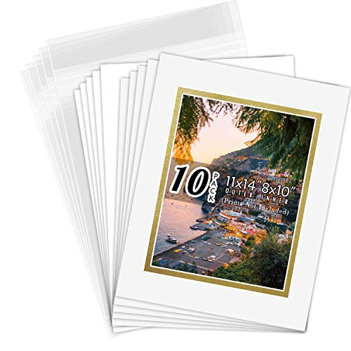 Golden State Art, Double Picture Mats with White Core Bevel Cut for 8X10 Photo Pictures (Mats, Backing, Clear Bags Included), Off-White Over Gold, 11x14-10 Pack (Double Mat)