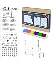 Acrylic Stamp Blocks Set of 5, Acrylic Blocks for Stamps with Grid Lines and 1 Sheet Clear Silicone Calendar Planner Stamps for Scrapbooking Crafts Card Making