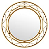 Amazon Brand – Rivet Modern Metal Lattice-Work Round Hanging Wall Mirror, 18 Inch Height, Gold Finish