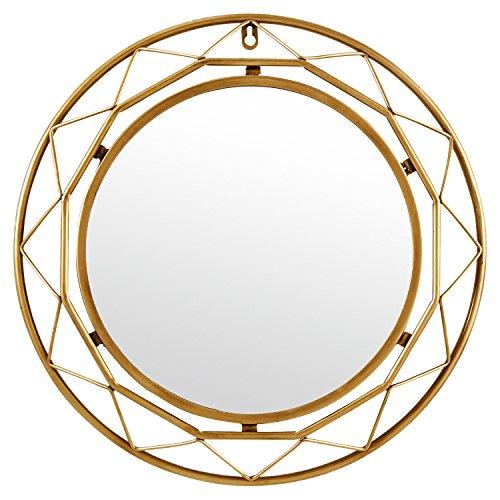 Rivet Modern Metal Lattice-Work Round Hanging Wall Mirror, 18 Inch Height, Gold...
