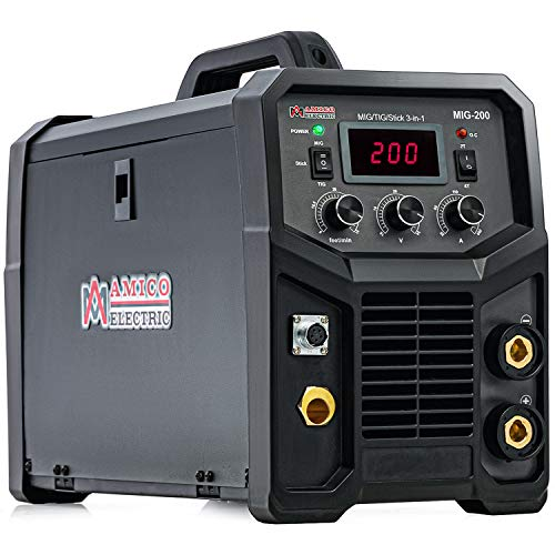 Amico MIG-200, 200-Amp MIG/MAG/Flux-cored/Lift-TIG/Stick Arc DC Inverter Welder, 115/230V Dual Voltage Welding, Compatible Spool Gun: SPG15250