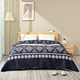 ATsense Tagesdecke 200x220 cm Blau & Schwarz Boho Bettüberwurf Mikrofaser Bettdecke , Stepp Decke Super Weich und Komfort für Bett.