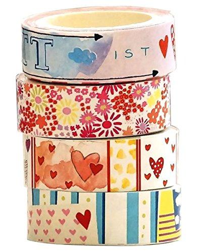 Washi Tapes Set Blumen und Herzen