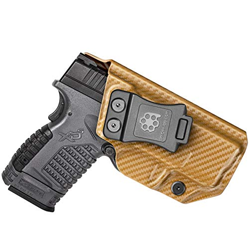 Amberide IWB KYDEX Holster Fit: Springfield XD-S 3.3' 9mm/.40S&W/.45ACP Pistol | Inside Waistband | Adjustable Cant | US KYDEX Made (Coyote Brown Carbon Fiber, Left Hand Draw (IWB))