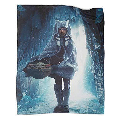 Manta de invierno para sofá de Star Wars The Mandalorian Ahsoka Tano y Baby Yoda vista frontal para camping, supervivencia y primeros auxilios (150 x 200 cm)