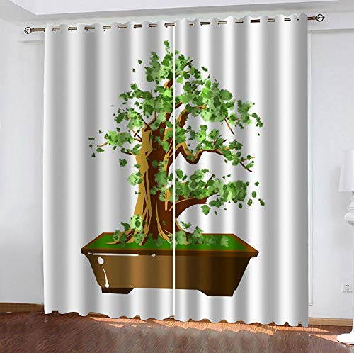 zpangg Verdunkelungsvorhang Topfpflanzen Ösen Mustern Blickdichte Kurze Gardinen Für Kinderzimmer Fenster 2Er Set Je 150×166Cm
