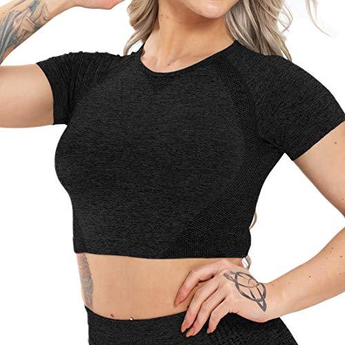 Damen-Oberteil, nahtlos, kurzärmelig, für Sport, Yoga, Fitnessstudio, Laufen, Tank Gr. Large, schwarz 1
