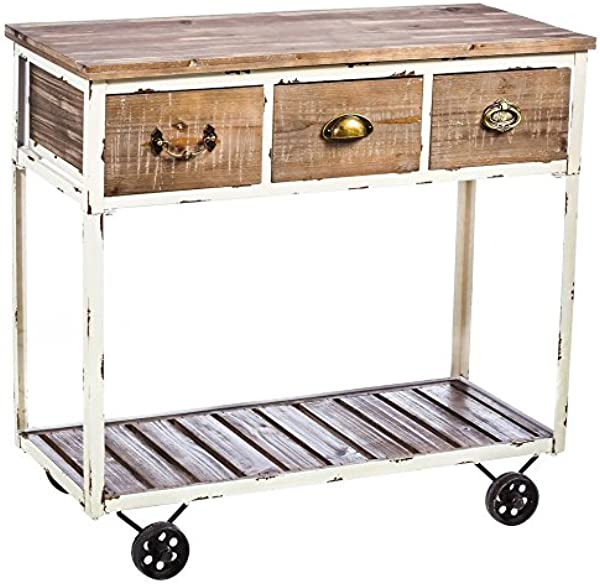 Cape Craftsmen Rustic Pine Wooden Hall Table With Wheels White
