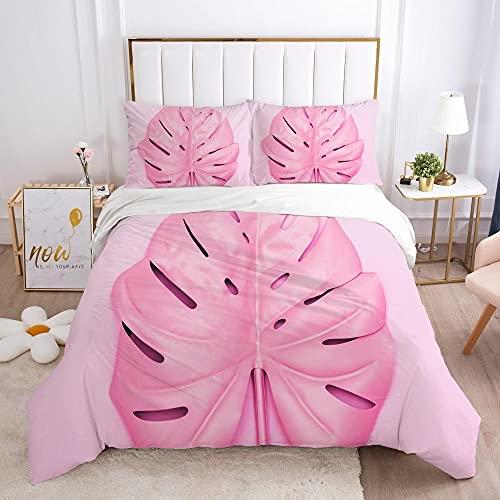 KSjrDdiog Funda Nórdica 240x220cm Cama con 1 Funda de Almohada 50x75 cm Funda de Edredón de Microfibra Suave y Transpirable Juego de Cama para niñas Rosa Moda Abstracto patrón
