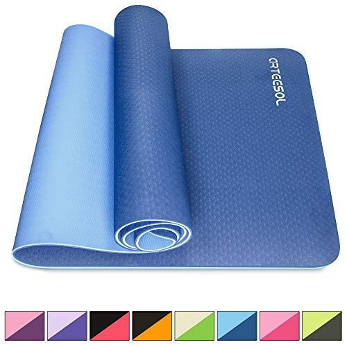 arteesol Yogamatte rutschfest Gymnastikmatte Schadstofffrei TPE Dünn Yoga Matte Fitnessmatte Trainingsmatte Sportmatte für Yoga Pilates Fitness 183cm x 61cm x 6mm (Navy, 183x61x0,6cm)