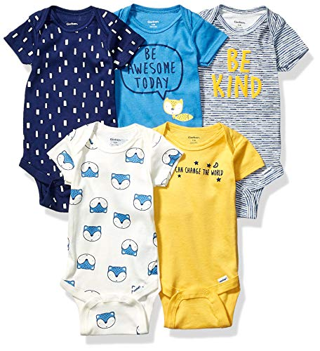 Gerber Baby Boys' 5-Pack Variety Onesies Bodysuits, Awesome Fox, 0-3 Months