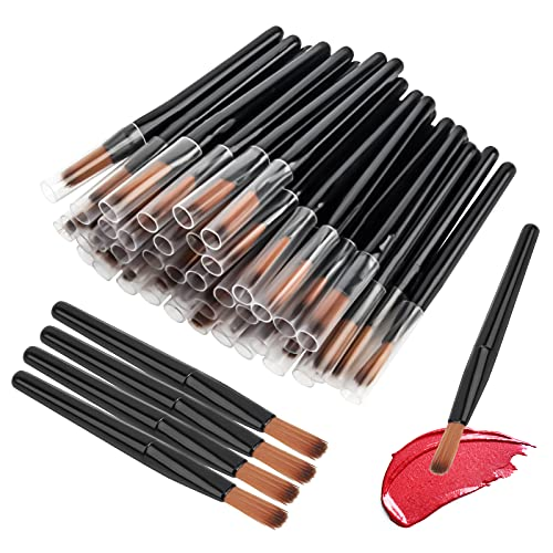 50Pcs/Set Lip Brushes, Disposable Lip Brush Lip Gloss Makeup Brush, Lipstick Gloss Wands Applicator...