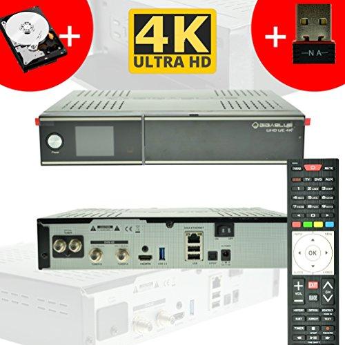 GigaBlue Ultra UHD UE 4K HYBRID LINUX Enigma2 HEVC H.265 2x DVB-S2 FBC Tuner (Twin) + DVB-S2 Single + 1TB 2,5 Zoll Festplatte + 150Mbit WLAN Stick NA-DIGITAL