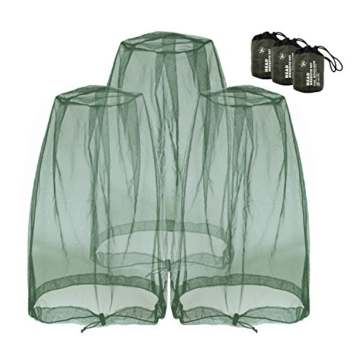 Mosquito Head Nets Gnat Repellant Head Netting for No See Ums Insects Bugs Gnats Biting Midges from Any Outdoor Activities, Works Over Most Hats Comes with Free Stock Pouches (3pcs, Navy Green)