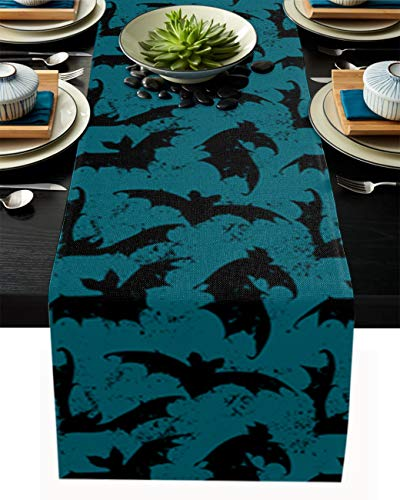 Flowraler 13x70 inch Linen Burlap Table Runner for Dining Room, Halloween Bat Table Runners Dresser Scarves for Farmhouse Kitchen Wedding Holiday Parties Decor, Teal Black