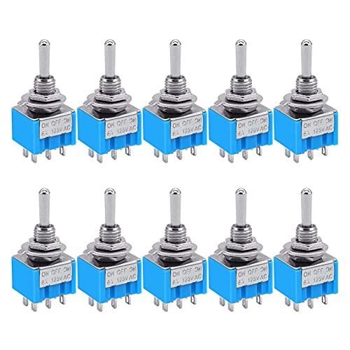DXFFOK 10pcs Mini MTS-203 6- Alfiler EN/Apagado/EN 6A 125V 3 Coloque el Interruptor de Palanca