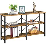 YAHEETECH 55' Rustic 3-Tier Console Sofa Table with Storage Shelves, Industrial Foyer Table Narrow Long Entryway Table TV Stand Hallway Table with Solid Wooden Boards for Living Room, Rustic Brown