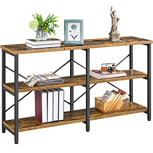 Yaheetech 55 Inch 3-Tier Sofa Console Table with Storage Shelves, Industrial Narrow Long Sofa Table with Solid Wooden Boards for Living Room, Foyer Table Long Skinny Table with X Design, Rustic Brown
